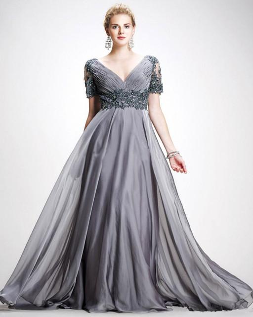 2016 Vintage V Neck Apliques Chiffon Até O Chão Plus Size Backless Vestidos De Noite Cinza Mãe Dos Vestidos de Noiva
