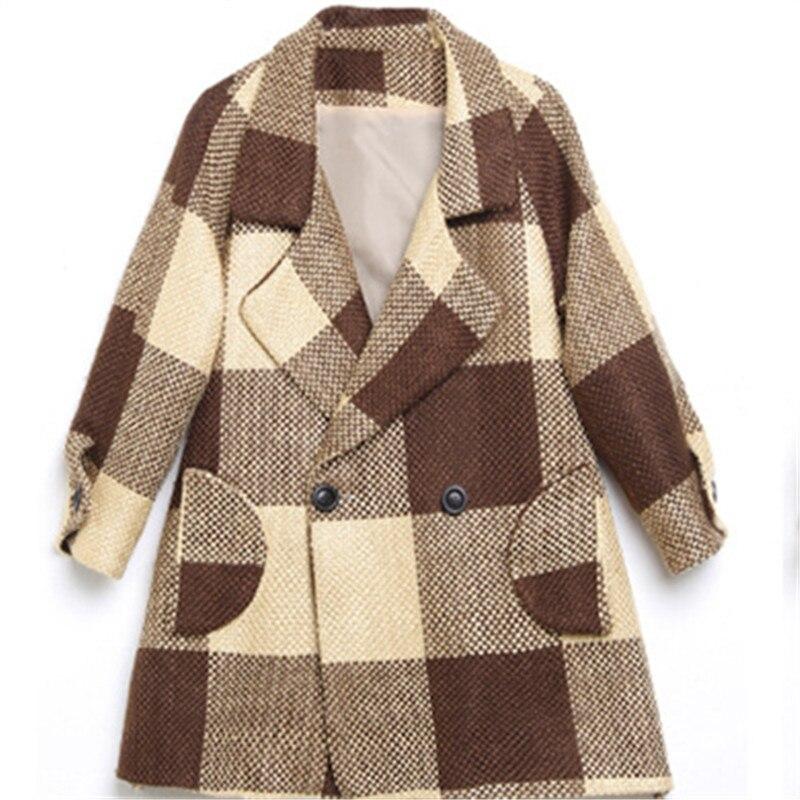 2018 Femmes Manteau Laine À Haute Cape Long Tunique Kaki Qualité Poche Carreaux Vintage Streetwear pH6ZOqx