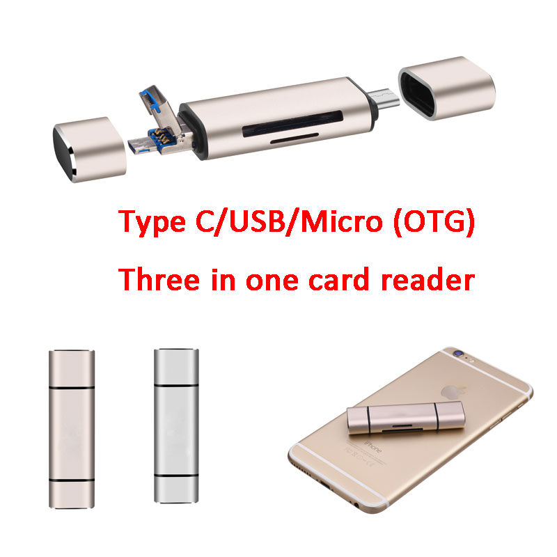 Multifunction 3 In1 Type C USB-C TF Micro SD OTG Reader Aluminum alloy + ABS Material High Speed  Card USB flash disk Reader 668 usb 3 1 type c card reader
