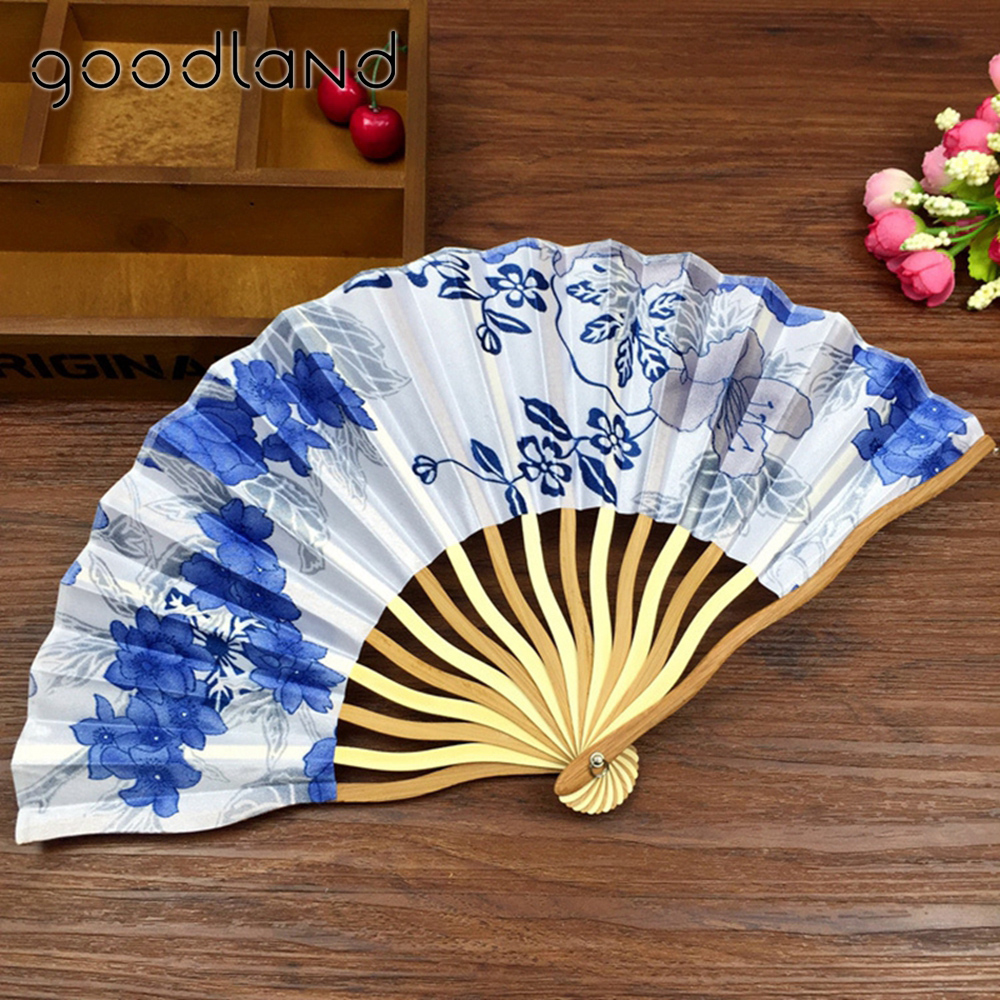 Free Shipping 10pcs Chinese Cherry Blossom Cloth Fabric Folding Hand Fan with Gift bag Wedding Gifts for Guests Christmas Decor