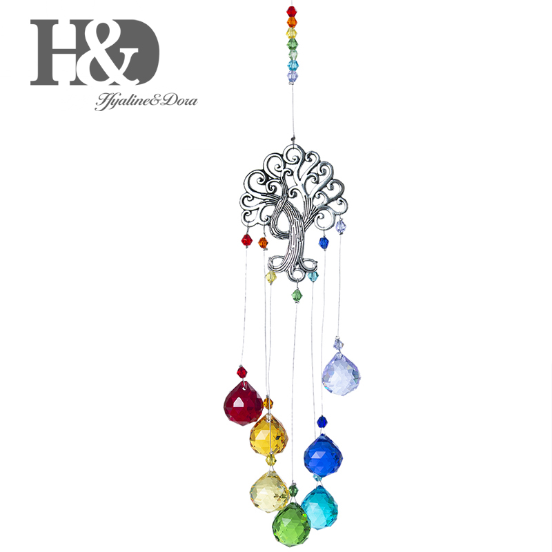 Handmade Crystal Ball Prism Suncatcher Tree of Life Hanging Ornament Mother Gift