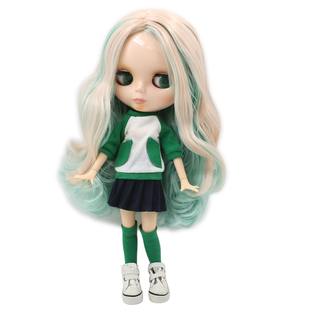 Free shipping blyth doll icy licca 230BL40061059 green mix ligh pink hair joint body 1 6
