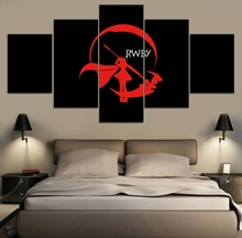 5 Piece Painting Canvas RWBY Ruby Rose Anime Modern Wall Art HD Print Decor Home Living Room Artwork