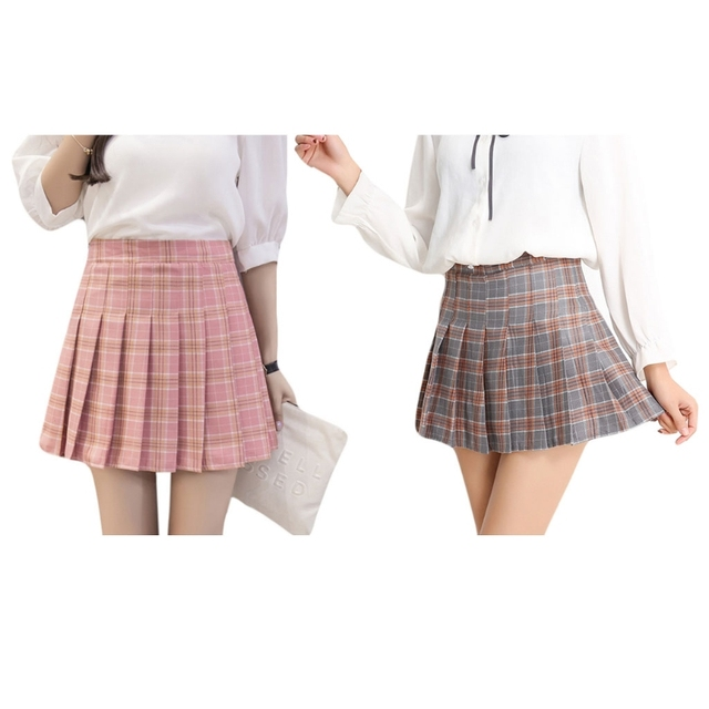 3738d68a6a2128 Women Girl Red &Grey Shirt High Waist Pleated Mini Skirt A-line School  Uniform