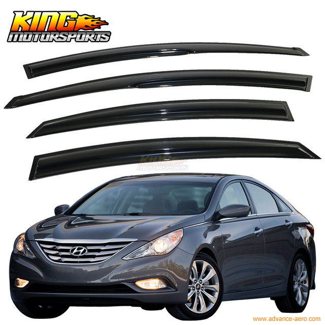 For 11-14 Hyundai Sonata Smoked Aero JDM Wind Deflectors Stick On Window Visors USA Domestic Free Shipping