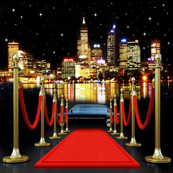 City Skyline Car Light Red Carpet photo backdrop polyester or Vinyl cloth High quality Computer print party background