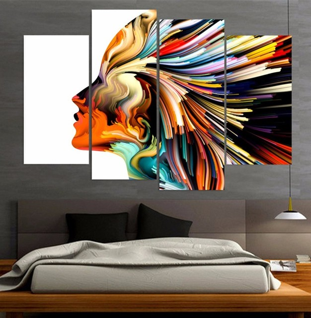 Us 9 17 49 Off 4 Piece Canvas Prints Wall Painting Art Colors Lines Woman Figure Modular Art Picture Print Anime Posters Wall Art Home Decor In