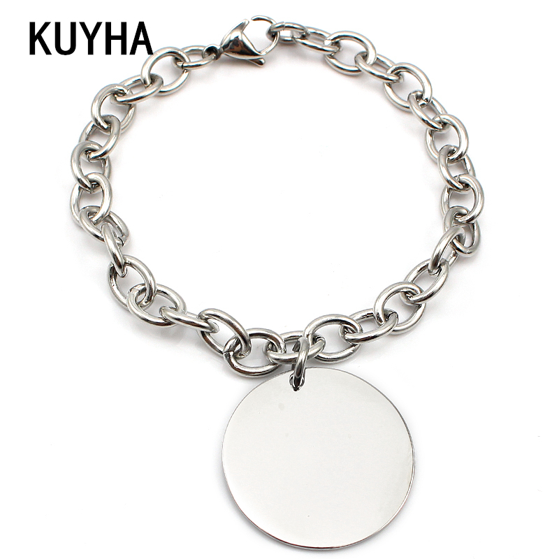 Women Fashion Bracelets Jewelry Accessories Bangles Chain Link Bracelets with Round Engravable Custom Logo/Name Charm Pendant