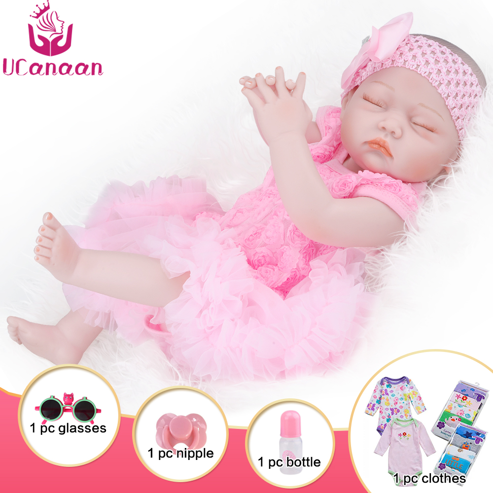 """UCanaan 20 """"pouces réaliste nouveau-né bébé poupées renaître réaliste tout le corps en Silicone bébés à la main bambin poupées jouets"""