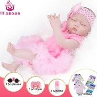 UCanaan 20 Inch Realistic Newborn Baby Dolls Reborn Lifelike Full Body Silicone Alive Babies Handmade Toddler Dolls Toys