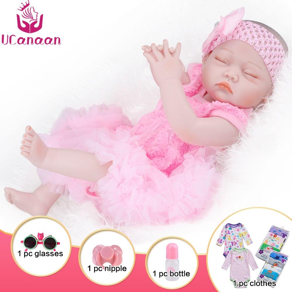 UCanaan 20 дюймовая Реалистичная кукла Новорожденный куклы, Возрожденный Полный тела, силиконовые игрушки для малышей ручной работы
