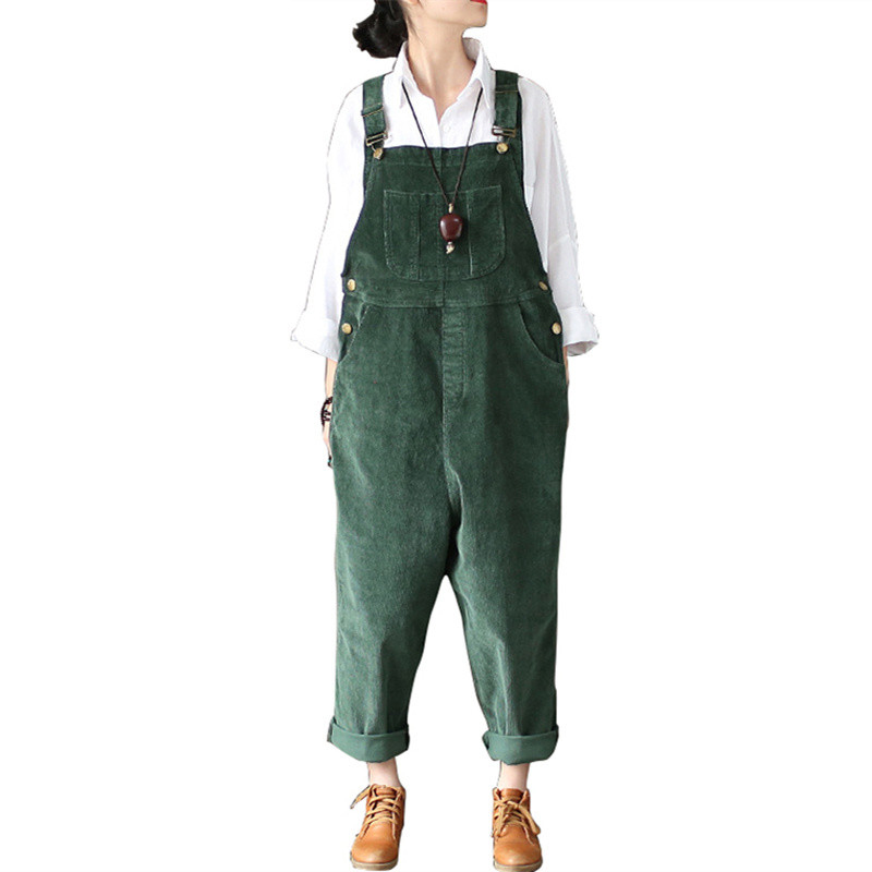 Johnature 2018 Spring Autumn New Original   Jumpsuits   Cotton Corduroy Women Vintage Loose Strap Thick Warm Pocket Casual   Jumpsuits