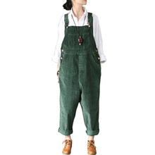 Johnature 2018 Spring Autumn New Original Jumpsuits Cotton Corduroy Women Vintage Loose Strap Thick Warm Pocket Casual Jumpsuits(China)