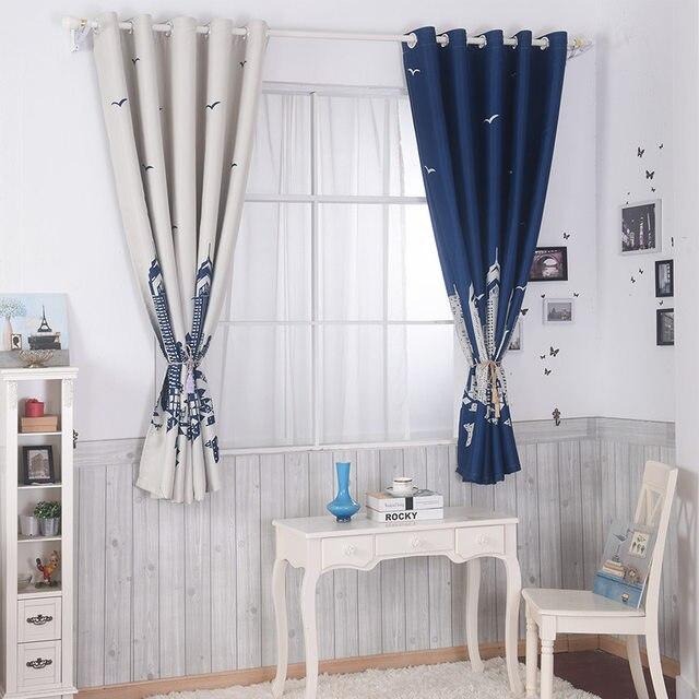 MYRU Blue Castle Shade Cloth Curtain Childrens Bedroom Curtains Cartoon Short  Curtains Bedroom Windows Curtains