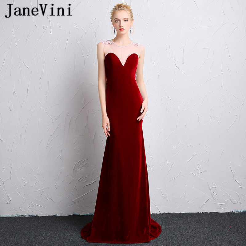 JaneVini Vestidos Sexy Velvet Burgundy Crystal Evening Dresses Mermaid Lace Appliques Backless Mother Of Bride Dress Plus Size