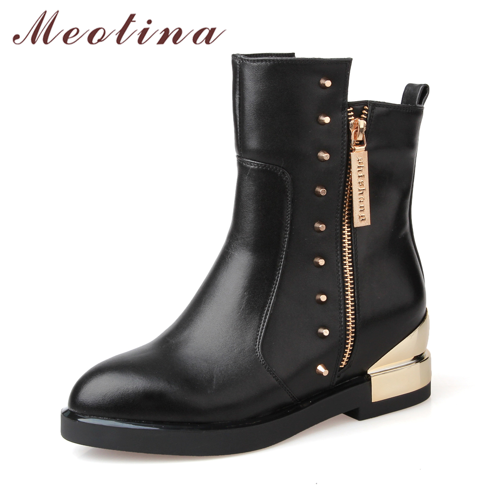 Meotina Genuine Leather Boots Women Rivets Mid Calf Boots Thick Heels Riding Boots 2018 Ladies Shoes Autumn Black Clearance mabaiwan handmade rivets military cowboy boots mid calf genuine leather women motorcycle boots vintage buckle straps shoes woman