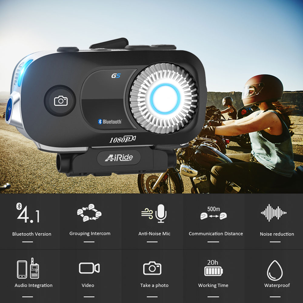 AiRide G5 casque de Moto Interphone Bluetooth casque de Moto casque with1080P enregistreur vidéo caméra Interphone Intercomunicador