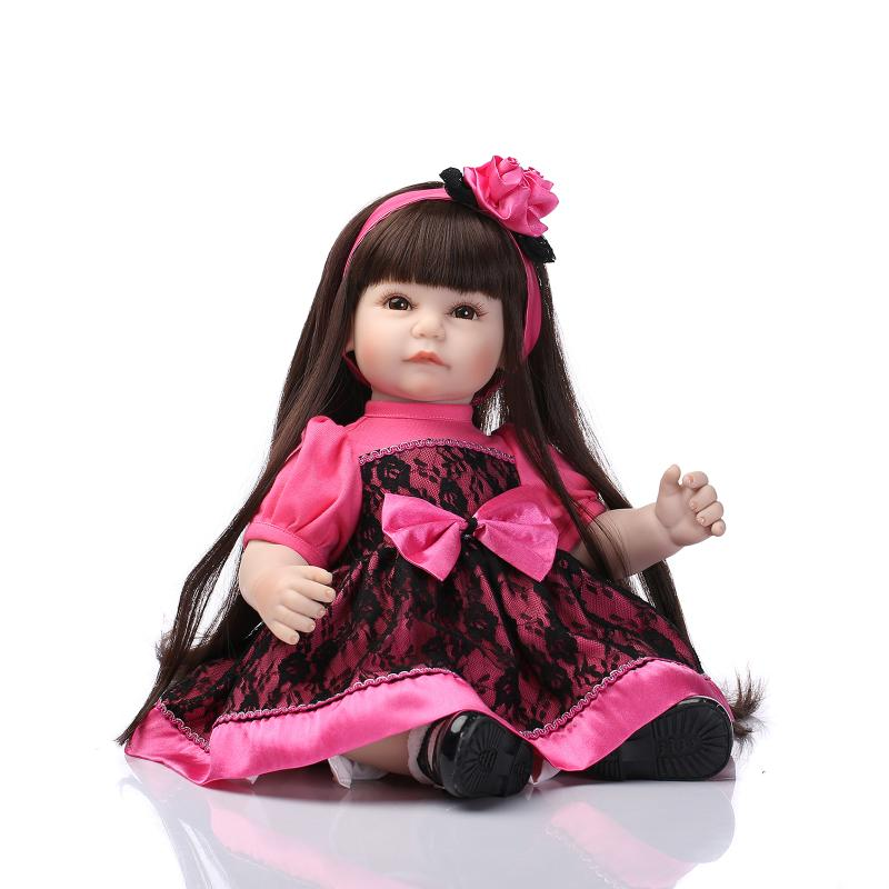 Nicery 20inch 50cm Lifelike Reborn Baby Lovely Girl Doll High Vinyl Christmas Toy Gift for Children Pink Black Dress Princess nicery 18inch 45cm reborn baby doll magnetic mouth soft silicone lifelike girl toy gift for children christmas pink hat close