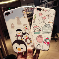 WMZSUCC New cartoon penguin snowman Soft back cover For iPhone 7 7plus 6 6s 6plus phone case Protective Cover