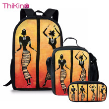 Thikin Children African American Art Tribal Dance School Bag Set for Boys Girls Teenagers Primary Travel Backpack Kids Book Bags