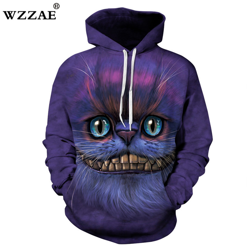 Drop Shipping 2018 Brand New Fashion Men/Women 3d Sweatshirts Print Cheshire Cat Hoodies Autumn Winter Thin Hooded Pullovers Top
