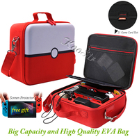 Nintendoswitch Pokeball Portable EVA Carrying Case for Nitendo Nintend Switch Accessories Protective Bag & Screen Protector Flim