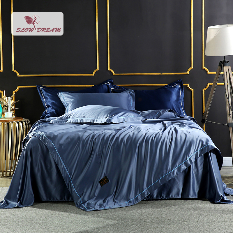 SlowDream Luxury Bedding Set Comforter Silk Duvet Cover Satin Bedspread Silky Linen Double Bed Sheet Blue
