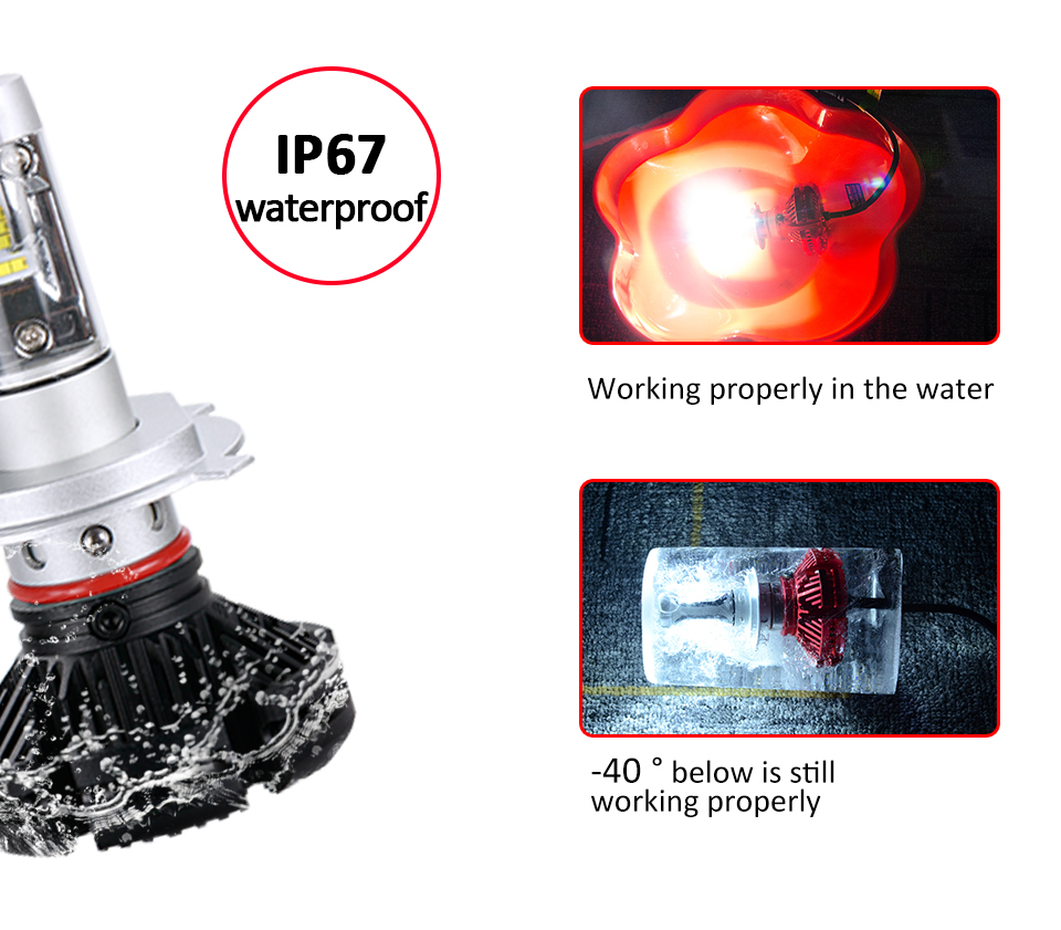 Aceersun X3 Series Fanless 50W H7 LED Car Headlight Bulbs WhiteAmber 6000lm H7 Auto Headlamp LED Car Bulb 12V 3000K6500K8000K (6)