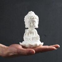 Buddha statue figures sitting lotus Bodhisattva car home decoration ceramic feng shui cabinet ornaments gift craft sculpture