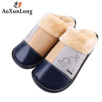 Winter New Men Slippers High Quality Leather Warm Plush Home Men S Slippers Clamshell Slide Indoor
