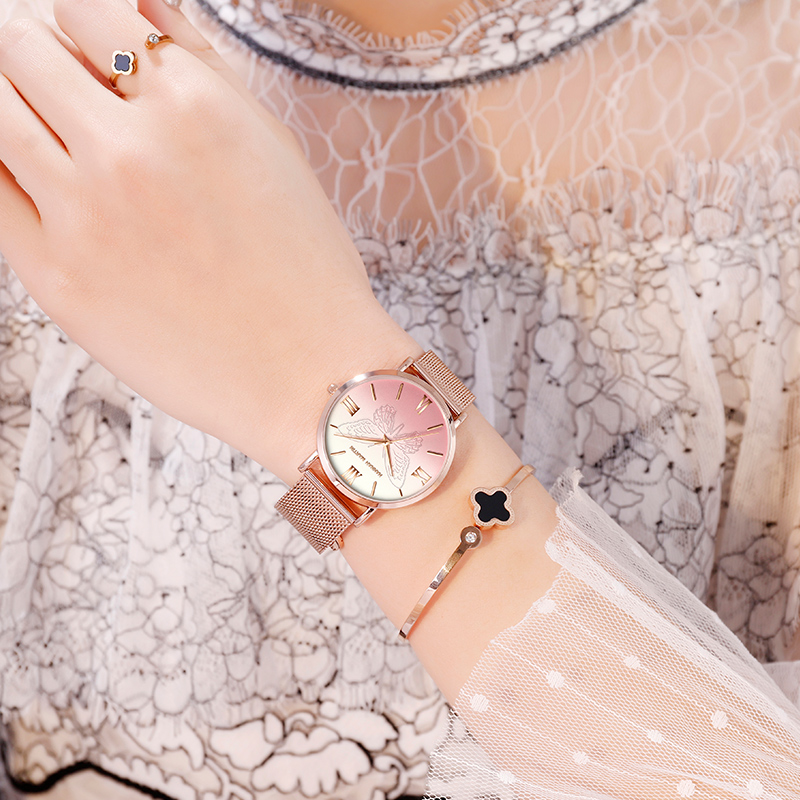 Luxury Rose Gold Ladies Dress Watch Top Brand Fashion 3D Butterfly Clock Japan Quartz Stainless Steel Waterproof Watch Relogio in Women 39 s Watches from Watches
