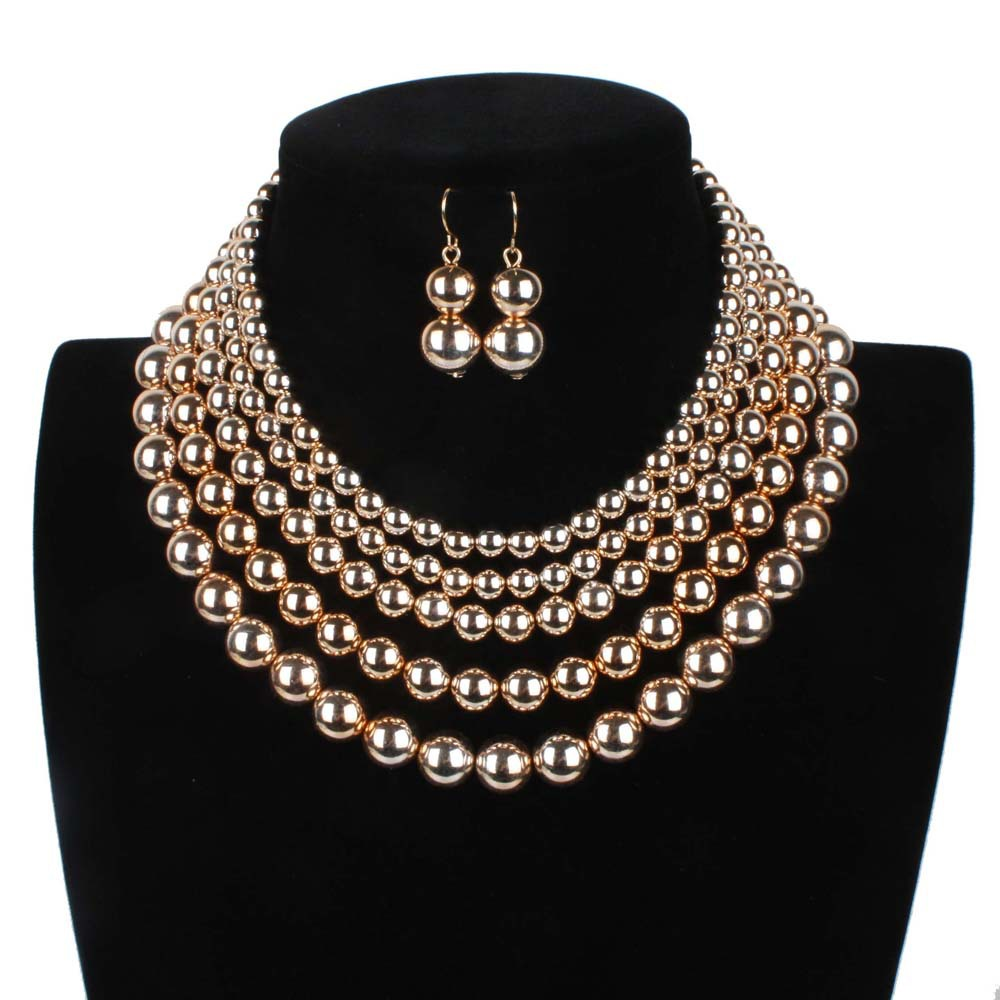 Fashion Steampunk Metal Multi layer 5 Circles Necklace Earrings Golden Handmade Beads CCb UV Pearl Jewelry Set Women Duftgold