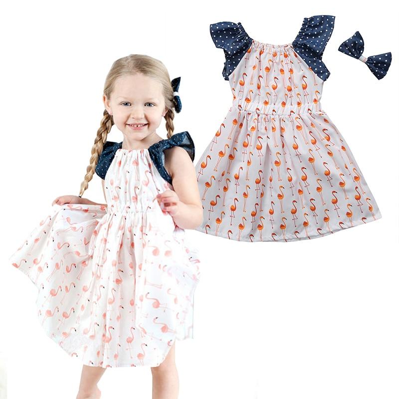 2017 Summer Little Girls Swans Pattern Polka Dots Dresses Toddler Kids Girl Princess Dress Party Pageant  Clothing kids toddler girls princess dress sleeveless polka dots bowknot party princess dresses summer dress