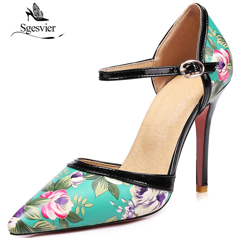 SGESVIER Patent Leather Pumps Thin High Heels Women