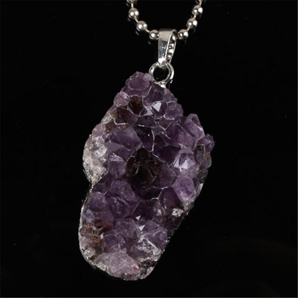 Naturlig lila Crystal Geode Quartz oregelbunden Crystal Druzy Cluster - Märkessmycken - Foto 5