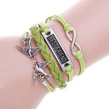 Best friend lucky leather bracelet birds charm bracelet pulseira masculina silver bracelets for women jewelry pulseras