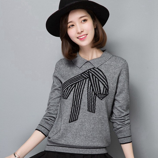 Hot Sale Women Sweaters Pullovers Knitted Bow Trendy Design Knitwear