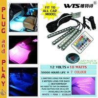 4pcs Car RGB LED Strip Light LED Strip Lights 7 Colors Car Styling Decorative Atmosphere Lamps