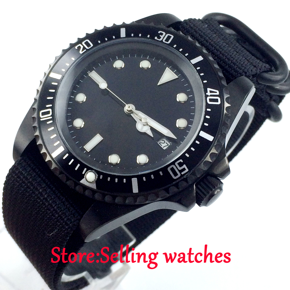 42mm parnis black dial luminous marks PVD automatic movement mens watch42mm parnis black dial luminous marks PVD automatic movement mens watch