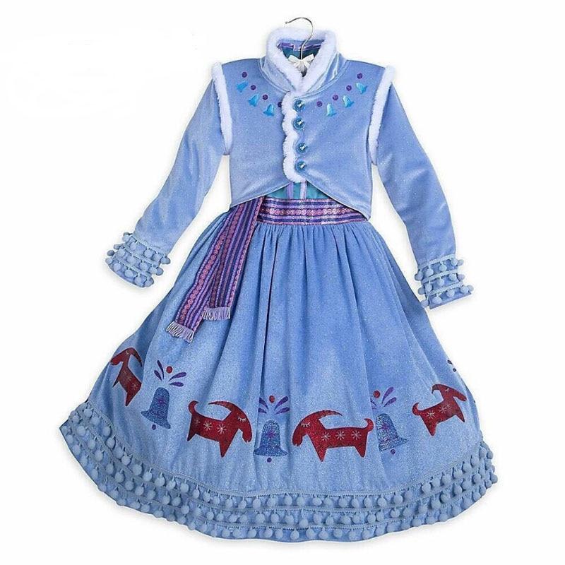 2020 New Elsa Dress Girls Party Vestidos Cosplay Girl Clothing Anna Snow Queen Print Birthday Princess Dress Kids Costume 5