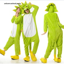 Green Monster Cartoon animal conjoined Onesies Pajamas Adult Animal Pyjamas Cosplay Costume Flannel Sleepwear for Unisex