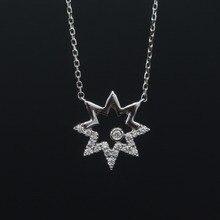 LASAMERO Halo 0.012CT 18k Gold Round Cut Square Center Pave Set Natural Diamond Necklace Chain Women Fine Jewelry