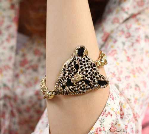 Fashion Popular Exquisite Tassel Luxury Leopard Head Bracelet B329