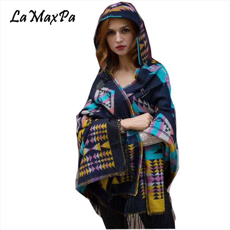 LaMaxPa Warm Winter Hooded   Wrap   Poncho Wool Blends Lush Cape Mantle Ponchos And Capes Aztec Outwear Casacos Femininos Tippet