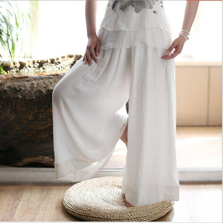 High Quality Long White Solid   Wide     Leg     Pant   Trousers Women Hanfu Chinese Traditional   Pant   Pantalon Femme