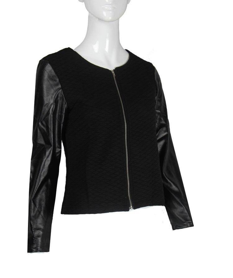 19 Women Basic Coats Jackets Spring Black Zipper Crop Pu Jacket Punk Style Bandage Women PU Leather Jacket Coat Crop Tops 7
