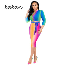 Kakan 2019 spring new womens print dress fashion sexy bow V-neck
