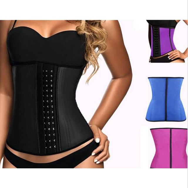 00a009b108 Top Body Shaper Waist Trainer Latex Waist Corset Women Steel Boned Rubber  Slim Belt Underbust Sashes Shapewear Cincher