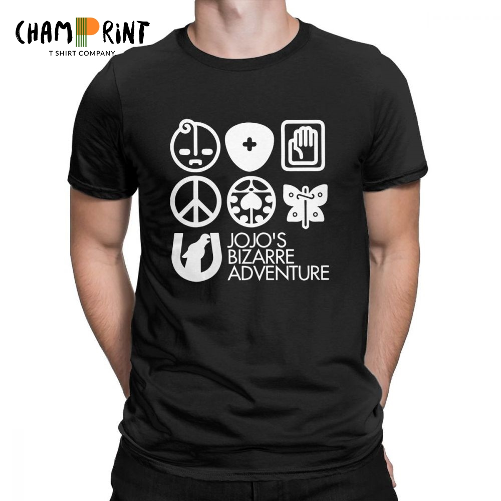 Men's   T     Shirts   Jojos Bizarre Adventure Symbols Funny Short Sleeve Tee   Shirt   Crew Neck Clothes Pure Cotton Designs   T  -  Shirt