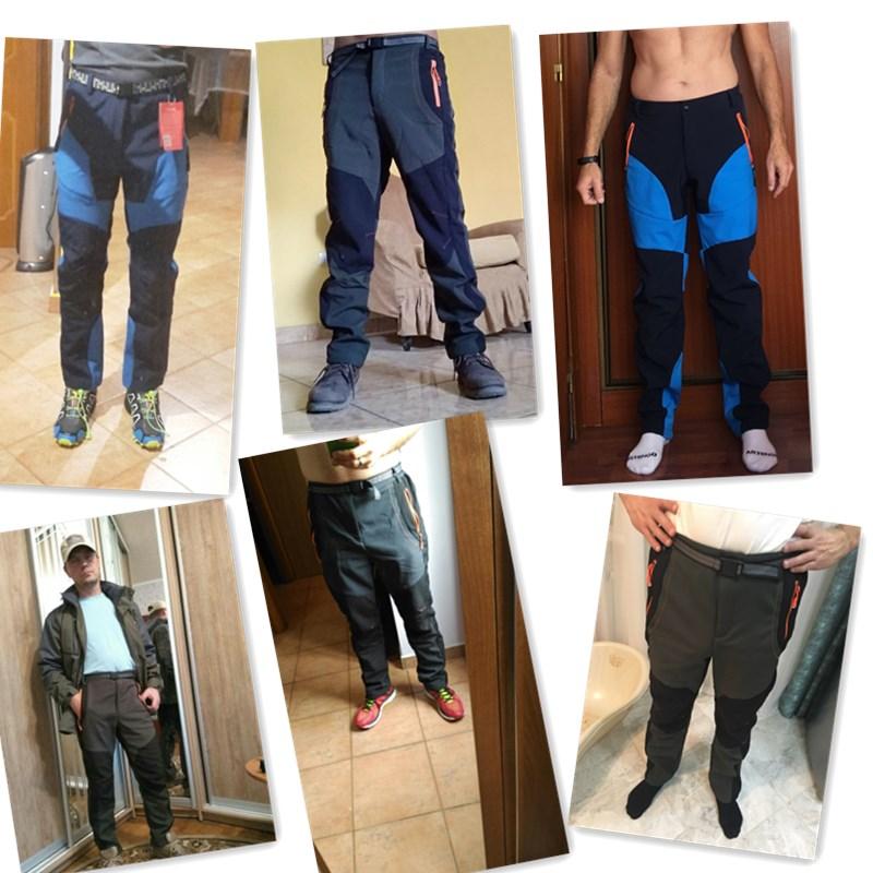 2019 Winter Men Cargo Pants Elastic Waist Travel Softshell Trousers Waterproof Windproof Thermal Men's Warm Men's Trousers